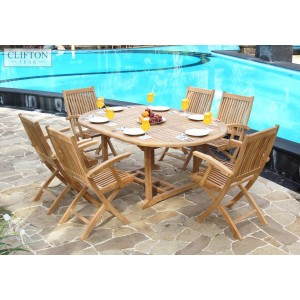 Salisbury 6-Seater Extending Teak Set 1