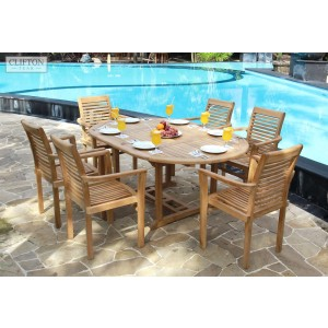 Sherborne 6-Seater Extending Teak Furniture Set 1