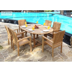 Sussex 6-Seater Extending Teak Patio Set 1