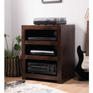 Dakota Dark Mango Low Hi-Fi Shelving Unit 1