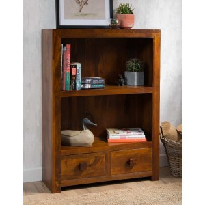 Dakota Mango Small 2-Drawer Bookcase