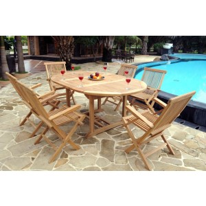 Devon 6-Seater Extending Teak Armchairs Set