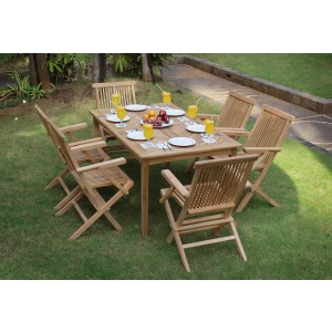 Dorset 6-Seater Rectangular Teak Patio Set