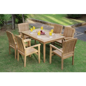 Sussex 6-Seater Rectangular Teak Table & Chairs Set