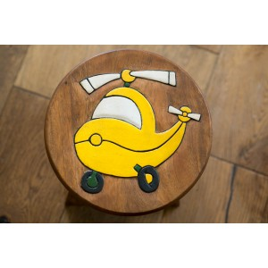 Solid Wood Child's Stool - Yellow Helicopter