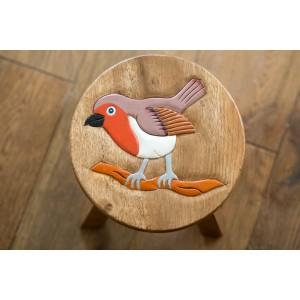 Solid Wood Child's Stool - Robin
