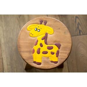 Solid Wood Child's Stool - Giraffe