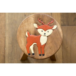 Solid Wood Child's Stool - Fox