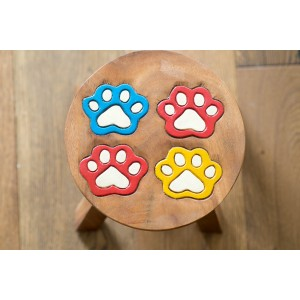 Solid Wood Child's Stool - Paw Print
