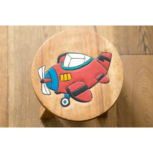 Solid Wood Child's Stool - Red Plane