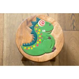 Solid Wood Child's Stool - Dinosaur
