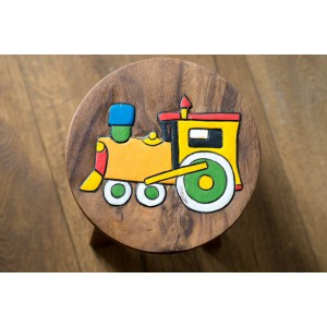 Solid Wood Child's Stool - Train