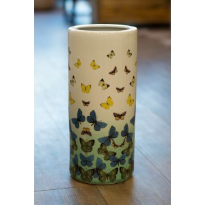 Ceramic Umbrella Stand - Blue and Yellow Butterfly