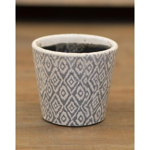 Black Floral Rustic Planter - Large