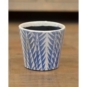 Blue Floral Rustic Planter - Small