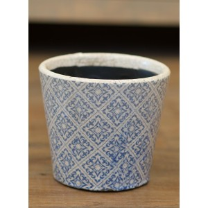 Blue Floral Rustic Planter - Large