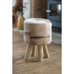 Goatskin Leather Stool - Tan