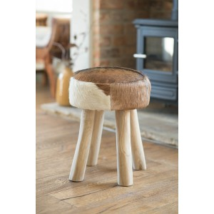 Goatskin Leather Stool - Brown