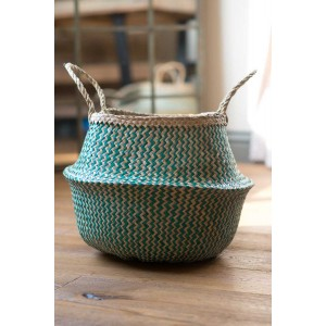 Green Zig Zig Seagrass Basket – Large