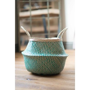 Green Zig Zig Seagrass Basket – Medium