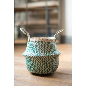 Green Zig Zig Seagrass Basket – Small