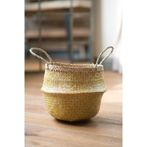 Yellow Zig Zig Seagrass Basket – Small