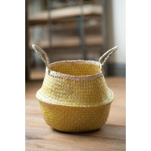 Yellow Zig Zig Seagrass Basket – Medium