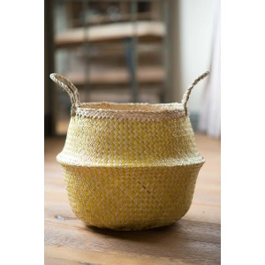 Yellow Zig Zig Seagrass Basket – Large