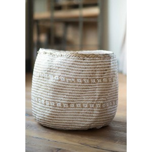 Natural & White Seagrass Basket – Medium