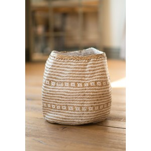 Natural & White Seagrass Basket – Small