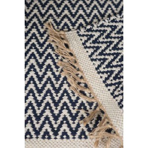 Jute Cotton Zig-Zag Rug - Blue