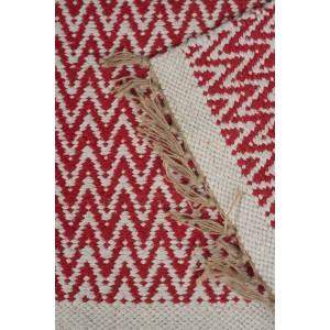 Jute Cotton Zig-Zag Rug - Red