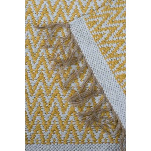 Jute Cotton Zig-Zag Rug - Yellow