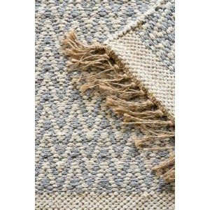 Jute Cotton Zig-Zag Rug - Grey/Blue