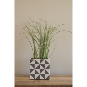 Grey & White Square Planter