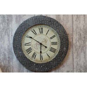 Antique Silver Embossed Clock