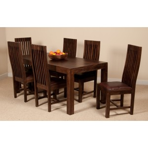 Mango Walnut 6-Seater Dining Set (Leather Seat)