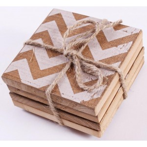 Multi Patterned Wooden Coasters Set of 4
