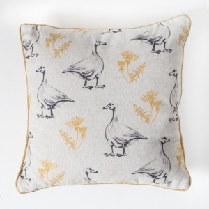 Goose and Dandelion Cushion Ochre