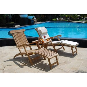 Twin Hampton Teak Steamer Set With Cushions