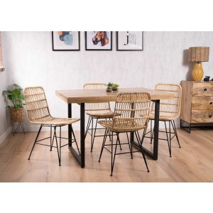 Havana Rattan 4-Seater Dining Set - Imari Industrial Table