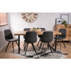 Arizona Industrial Mango 6-Seater Dining Set - Charcoal Grey