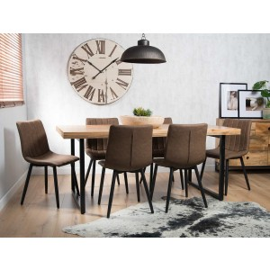 Imari Industrial Mango 6-Seater Dining Set (150cm Table) - Arizona Chairs
