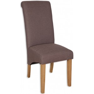 Coffee Fabric Dining Chair - Light Oak Legs