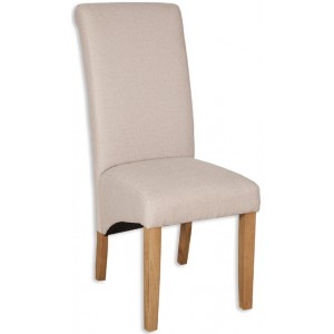 Natural Fabric Dining Chair - Light Oak Legs