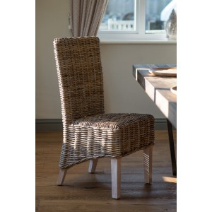 Kubu Rattan Dining Chair - Whitewashed Leg