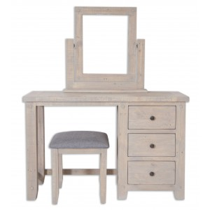 Cotswold Reclaimed Pine Dressing Table With Stool and Mirror