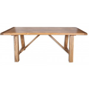 Farmhouse Light Mango Trestle Dining Table 1.75m