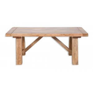 Farmhouse Light Mango Trestle Dining Table 1.35m