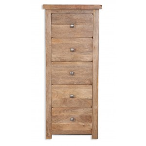 Farmhouse Light Mango 5 Drawer Tall Chest